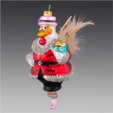 Ёлочное украшение Курочка в розовой шляпке