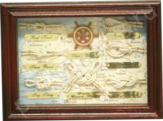 Морской коллаж Штурвал и морские узлы небольшой.