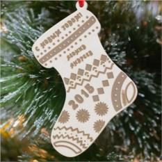 Деревянная ёлочная игрушка Рождественский носок