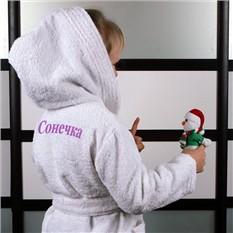 Детский махровый халат с именной вышивкой, белый