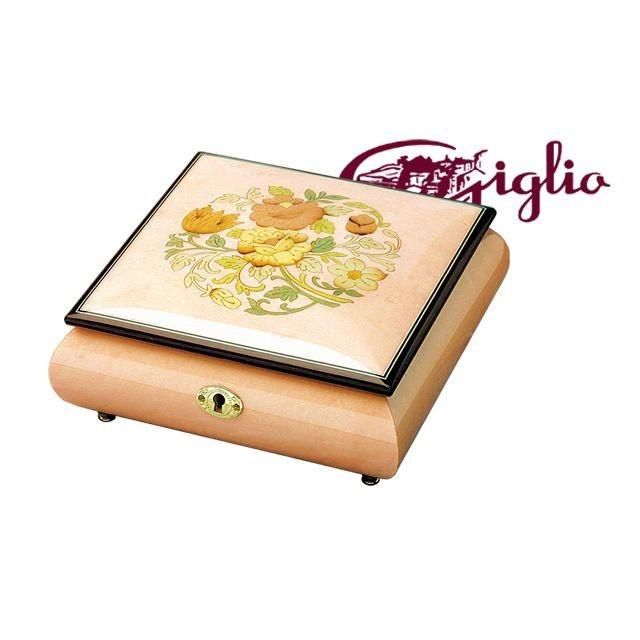 Музыкальная шкатулка для украшений Giglio, розовая с букетом