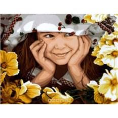 Картина по номерам 40х50 см Девочка в цветах