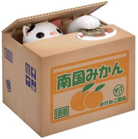 Механическая копилка Кошка-воришка в коробке