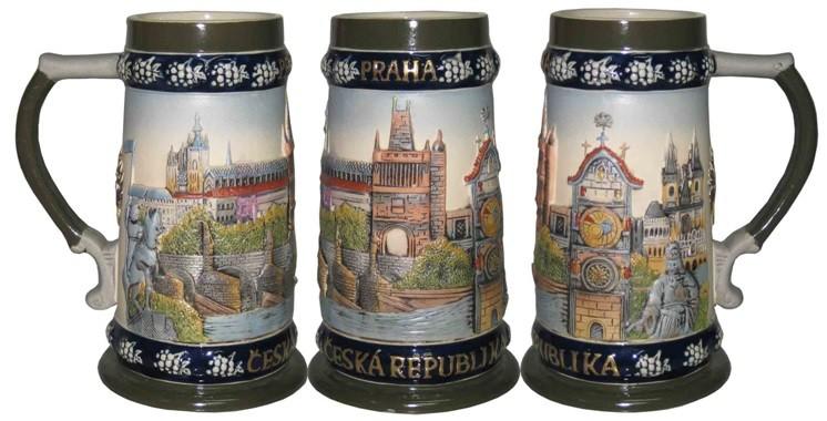 Пивная кружка коллекционная Прага 19см, 750мл