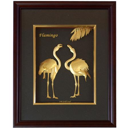 Картина из золота «Фламинго»