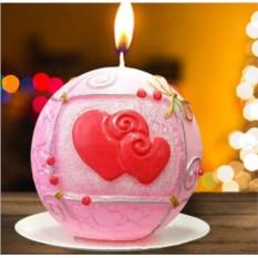 Новогодняя свеча «Сердечки»