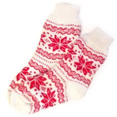 Шерстяные носки Белые со снежинками