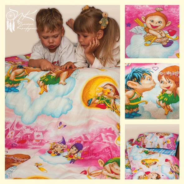Комплект детского постельного белья (на резинке) Амуры