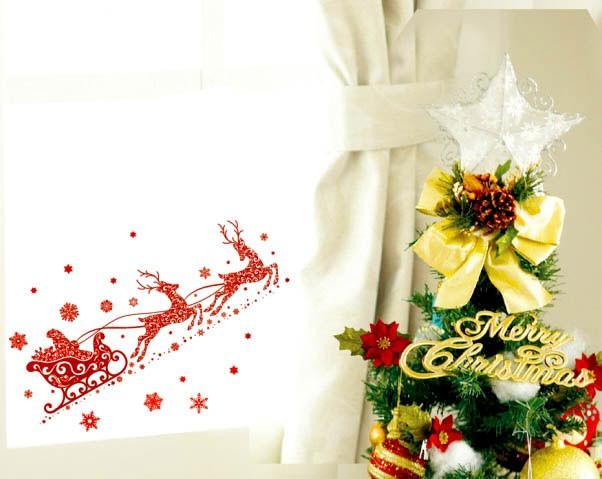 Наклейка Новогодняя оленья упряжка