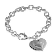 Женский браслет Два сердца с гравировкой