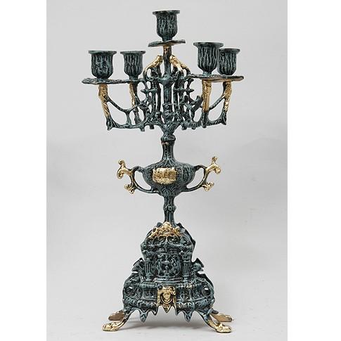 Бронзовые канделябры на 5 свечей (пара)