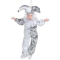 Бело-серебряное украшение новогоднее Арлекино