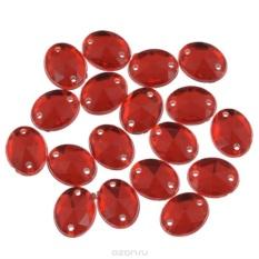 Стразы пришивные Астра, овальные, цвет: красный, 18 шт