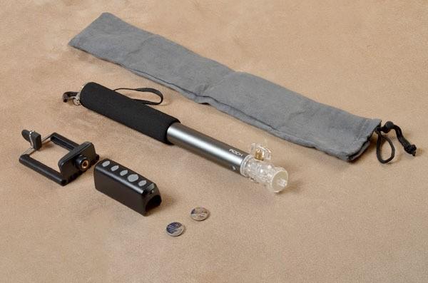 Монопод для селфи Rock с пультом ДУ, bluetooth (серый)