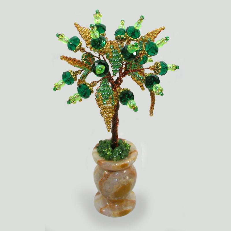 Миниатюрное дерево из циркона в вазочке из оникса