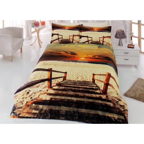 Евро комплект постельного белья 3D, пляж