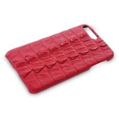 Красный чехол на iPhone 7 plus из кожи крокодила