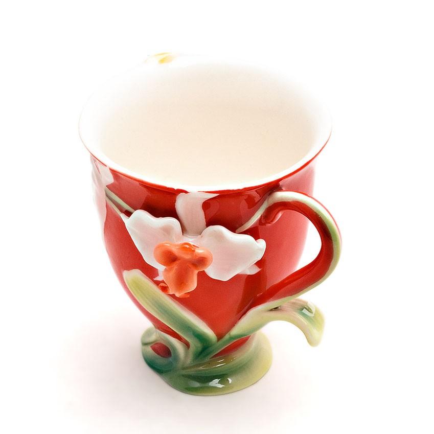 Чайная пара Орхидея на красном