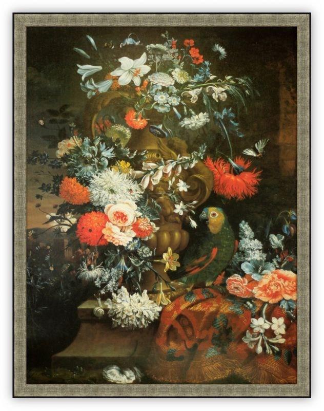 Репродукция Ваза с цветами и попугай