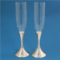 Свадебные бокалы со стразами, цвет серебряный