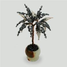 Миниатюрное дерево здоровья из гематита в вазочке из оникса