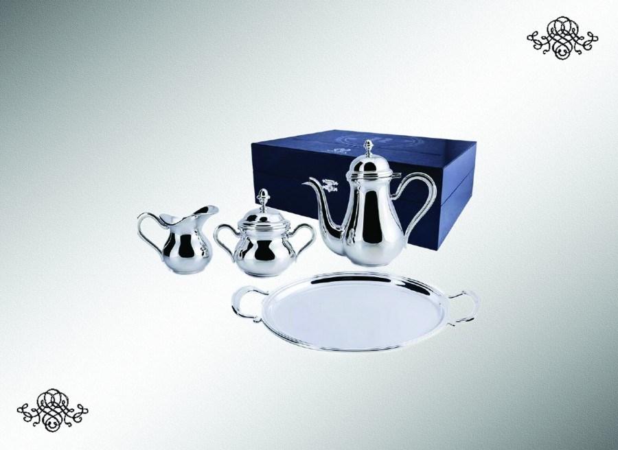 Серебряный набор: кофейный сервиз Английский на 2 персоны из 3 предметов