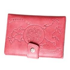 Розовое портмоне для документов из натуральной кожи