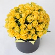 51 желтая роза 40 см в шляпной коробке