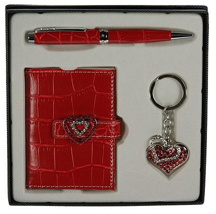 Алый подарочный набор: ручка, визитница, брелок