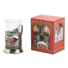 Подстаканник с эмалью в коробе Герб России