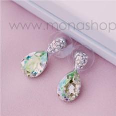 Серьги «Затмение» с камнями Сваровски цвета шампань