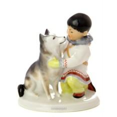 Скульптура Якут с собакой (Императорский фарфоровый завод)