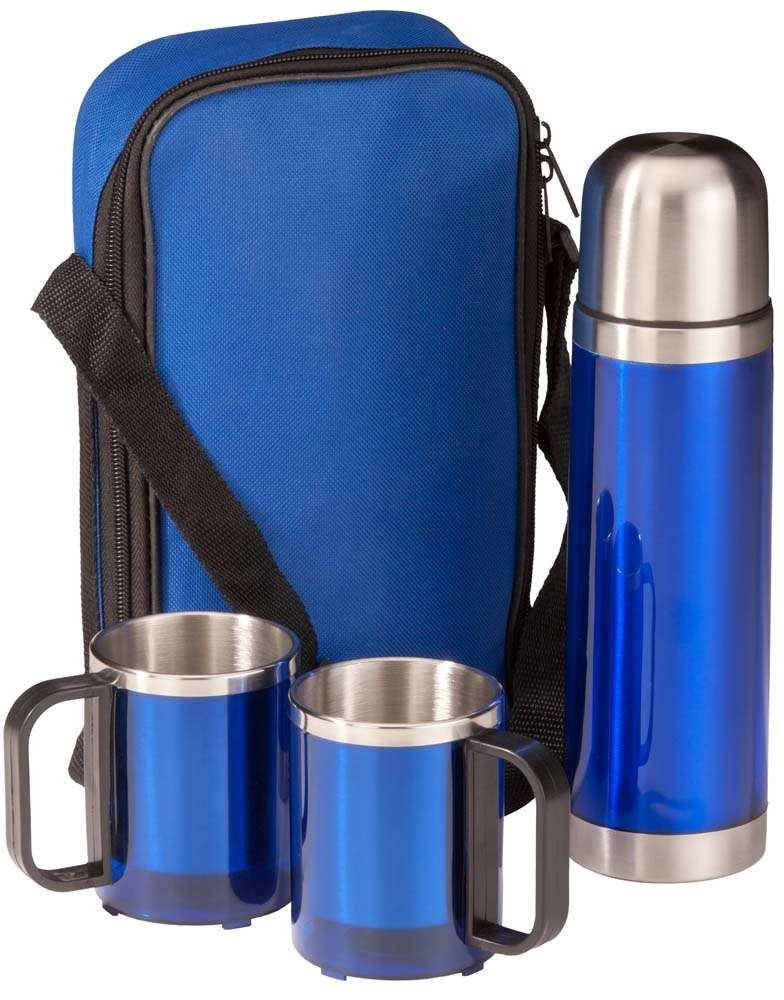 Набор: термофляга и 2 кружки в чехле, синий