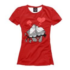 Женская футболка Влюбленные птички