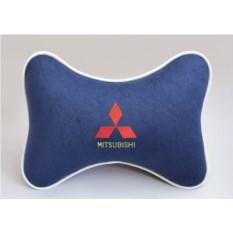 Подушка на подголовник из синего велюра Mitsubishi