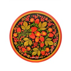Тарелка-панно в стиле хохлома Клубника