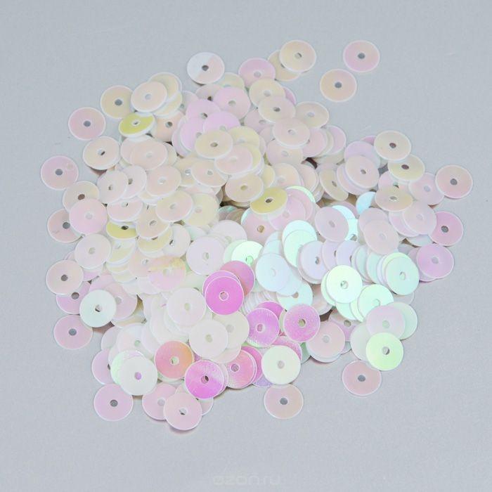 Плоские пайетки Астра, светло-розовые, 6 мм