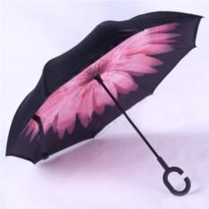Розовый обратный ветрозащитный зонт Up-brella Цветок