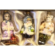 Набор елочных игрушек  Дед, бабка и снегурочка