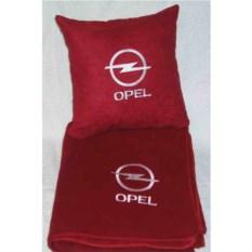 Красный плед с белой вышивкой Opel