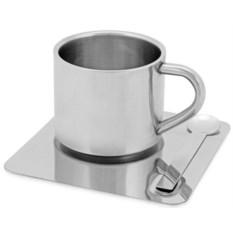 Чашка с термоизоляцией на 180 мл и ложкой на подносе