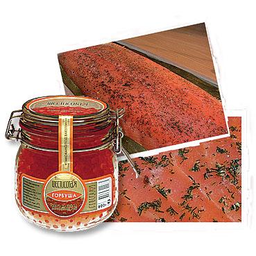 Красная икра и семга