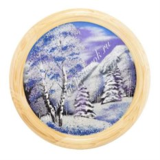 Панно на тарелке из сосны Зимний пейзаж (40 см)