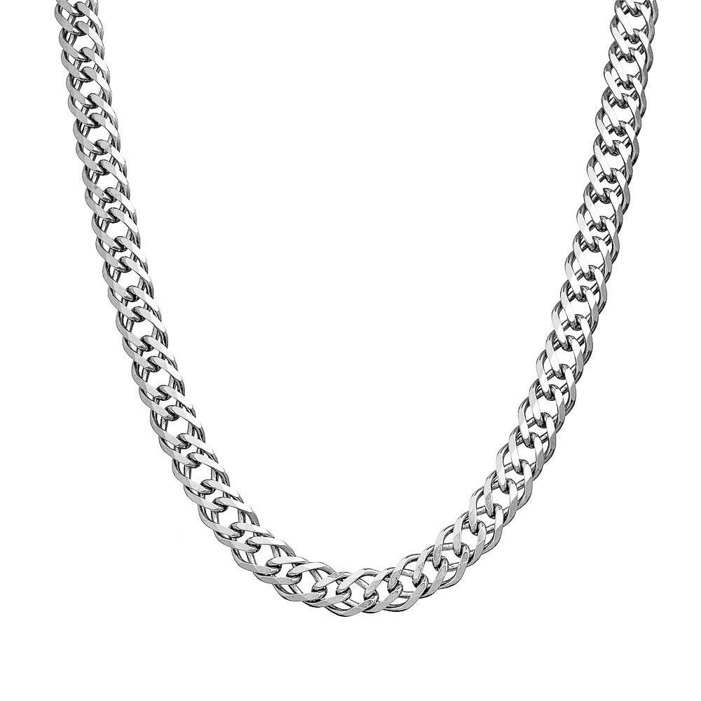 Серебряная мужская цепь плетения Двойной ромб