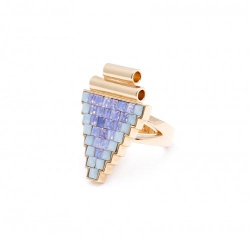 Треугольное кольцо со стразами из коллекции Deco Glam