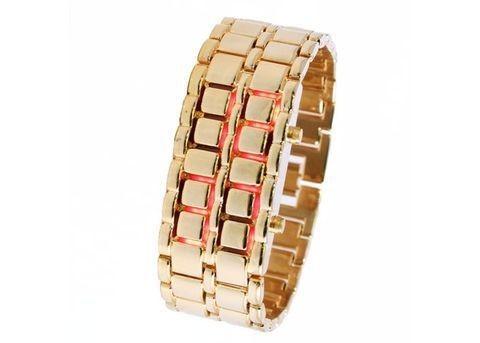 Часы Iron Samurai, золотые с красной подсветкой