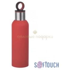 Красная термобутылка «Силуэт» с прорезиненной поверхностью