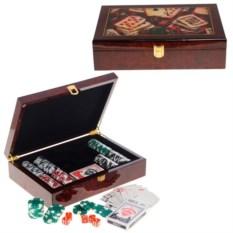 Покерный набор в кейсе: 200 фишек карты, красивый кейс