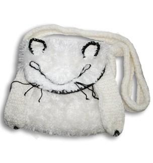 Сумка вязаная авторская Белый пушистый котяра
