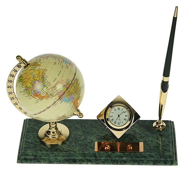 Настольный набор с глобусом и часами